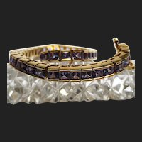 Divine 18K Gold Tanzanite Tennis Bracelet Channel Set Princess Cut 12.74 Carats