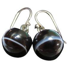 Victorian Scottish Bullseye Banded Agate Button Earrings