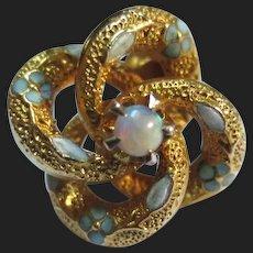 Victorian 14K Gold Enamel Opal Tie Tack Lapel Pin Lovers Knot