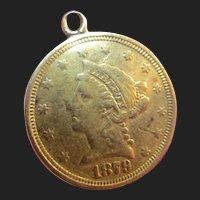 Victorian 22K Gold Coin Pendant Love Token Charm American 1879 Liberty Head