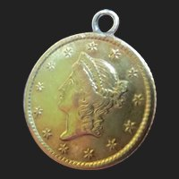 Antique 22K Gold Coin Pendant Love Token Charm Victorian Era Liberty Head 1849-1854