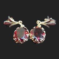 Lovely Vintage 10K Gold Garnet Earrings