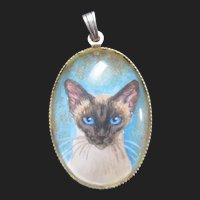 Delightful Vintage Pendant of Siamese Cat Miniature Portrait Painting