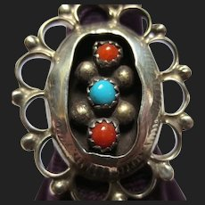 Vintage Native American Silver Coral & Turquoise Ring Southwestern