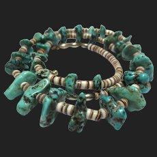 Vintage Heishi & Turquoise Beaded Native Necklace Southewestern