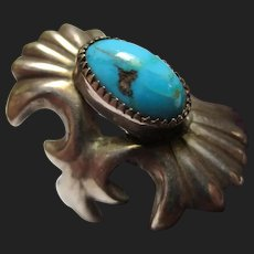 Vintage Navajo Sand Cast Turquoise Ring Native American