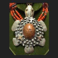 Unique Navajo Emer Thompson Sterling Silver Turtle Pendant Necklace