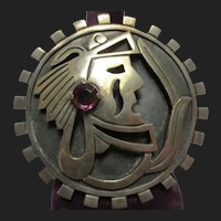 Bold Mexican Silver Vintage Pendant Brooch Warrior Sun