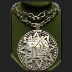 Mexican Silver Sun Warrior Vintage Pendant & Rope Chain
