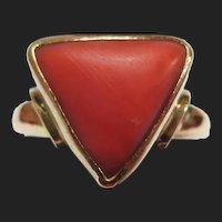 Vintage 21K Gold Coral Ring