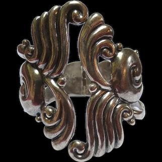 Lovely Taxco Mexcian Silver Clamp Cuff Bracelet Antonio Reina