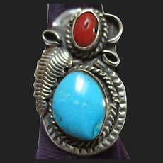 Vintage Turquoise & Coral Sterling Silver Ring Native American Southwestern