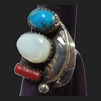 Vintage Turquoise Coral & Mother of Pearl Sterling Silver Ring Native American Southwestern