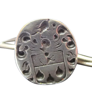 16th - 17th Century Silver Seal Fob Pendant Perrot Family Crest
