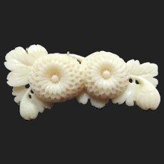 Lovely Carved Coral Vintage Flower Brooch