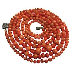 Antique Art Deco Coral Necklace Bead Strand 41 inches