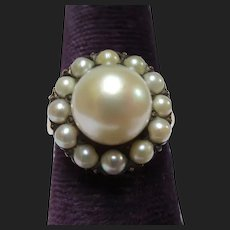 Lovely 10K Gold Large Pearl Cluster Halo Ring