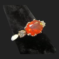 Vintage 14K Gold Fire Opal Diamond Ring