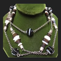 Antique Scottish Banded Agate Silver Necklace