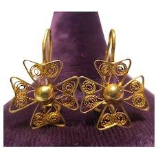 Antique 18K Gold Maltese Cross Earrings