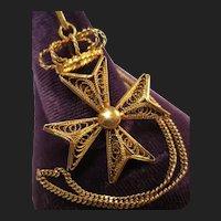 Antique 18K Gold Maltese Cross Crown Pendant & 14K Gold Chain Necklace