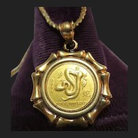 24K Gold Snake Coin Pendant with 14K Setting & Chain Necklace