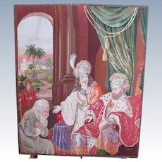 Gorgeous Large Victorian 1865 Antique Needlepoint King Sultan