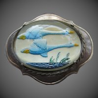Wonderful Reverse Painted Essex Crystal Birds Swan Goose Vintage Silver Brooch