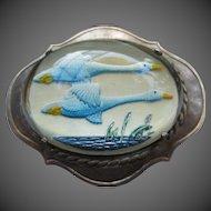 Wonderful Reverse Painted Essex Crystal Birds Swan Goose Vintage Silver Brooch