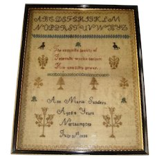 Early sampler by Ann Maria Sanders 1838 aged 8 birds and trees