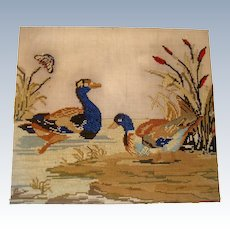 Early 19th century needle point of ducks