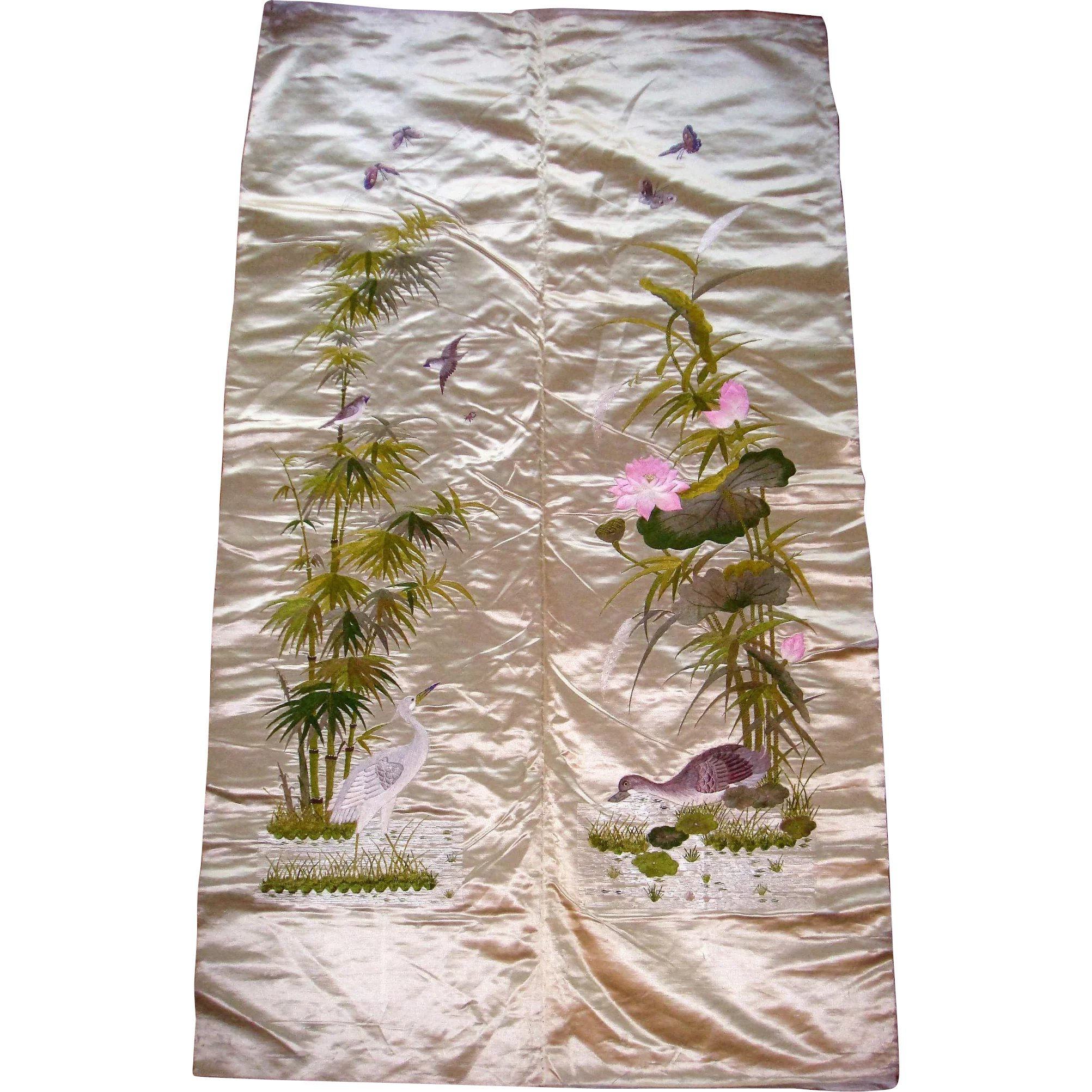 Chinese Silk Embroidered Panel Birds And Flowers Susieschoice