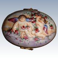 Antique Limoges box with cherubs
