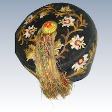 Embroidered 19th century velvet smokers cap