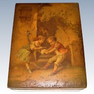 Charming old box with children on