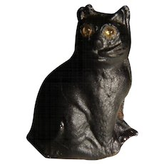 Czech glass black cat with sparkly eyes