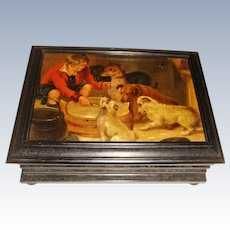 Italian box with oil painting of dogs