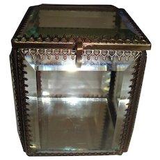 French glass ormolu edged glass casket with mirror