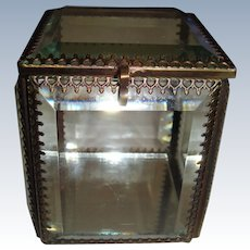 French glass ormolu edged glass casket with mirror