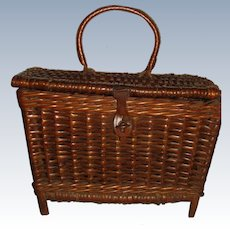 Miniature antique hamper for doll