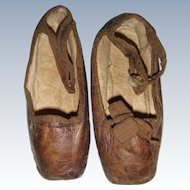 Early square soft leather shoes for large doll