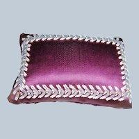Early purple and bead work pin cushion