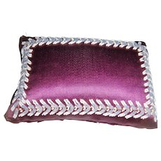 Early purple and bead work pin cushion