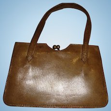 Miniature old leather bag for doll