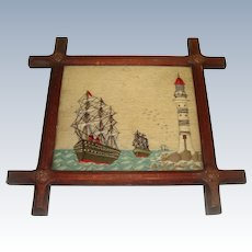 Superb Antique needlework sailing ships and light house