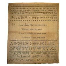 Sampler dated 1802 by LouisLacon age 8