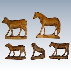 Carved wooden animals from Germany