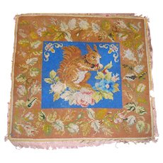 Delightful 19th century needlework of red squirrel