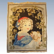 Needlework 19th century of girl with flowers