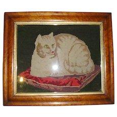 Antique framed needlepoint cat on cushion